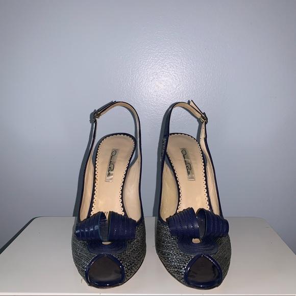 98ff05ca4d06 Oscar de la Renta Shoes   Navy Blue And Silver Heels   Poshmark